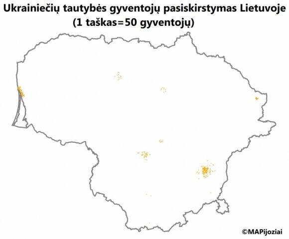 Ukraińcy na Litwie. Foto: mapijoziai.lt