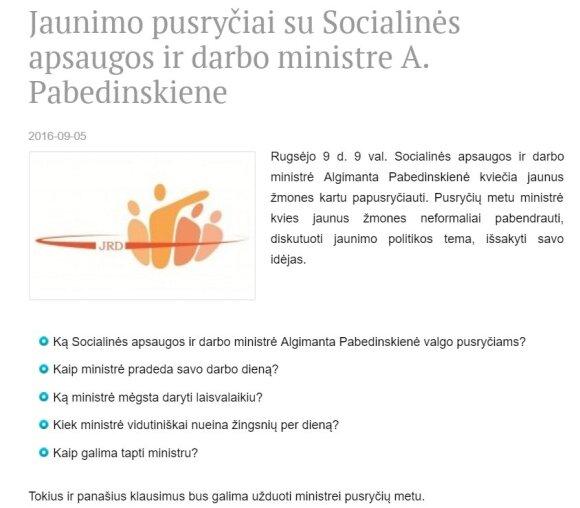 Algimanta Pabedinskienės susitikimo reklama