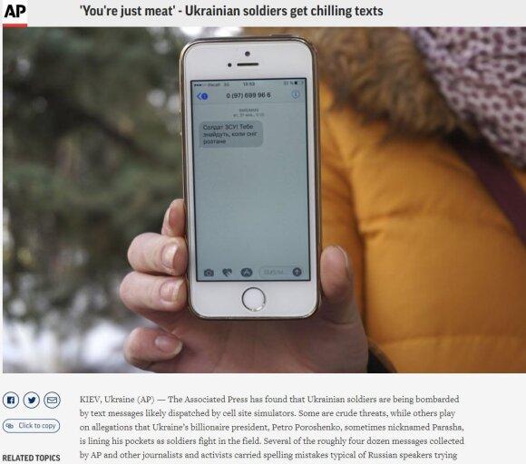 """2017 metais užfiksuotame kadre televizijos žurnalistė Julija Kirienko rankose laiko telefoną su žinute """"Ukrainos kariai, jie ras jūsų kūnus, kai nutirps sniegas"""""""