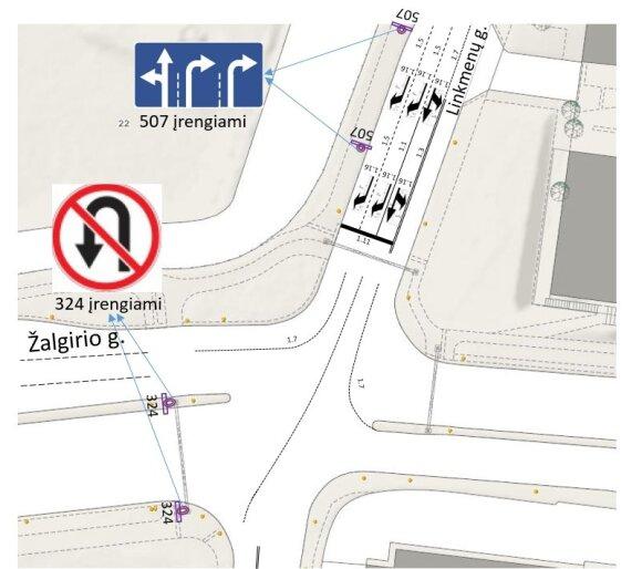 Žalgirio ir Linkmenų gatvių sankryžoje eismo pakeitimai