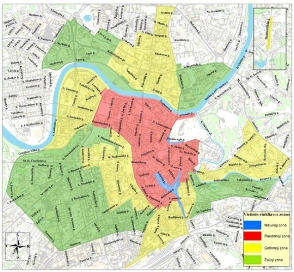 Rinkliavų žemėlapis Vilniuje