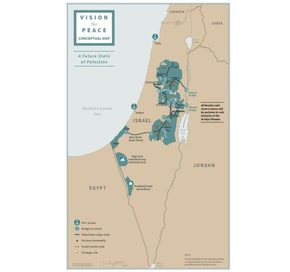 Donaldo Trumpo siūlomų Izraelio ir Palestinos valstybių ribų žemėlapis