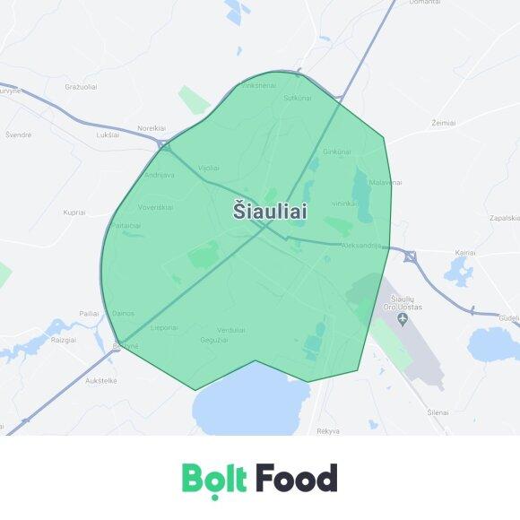 """Bolt Food"" žemėlapis"