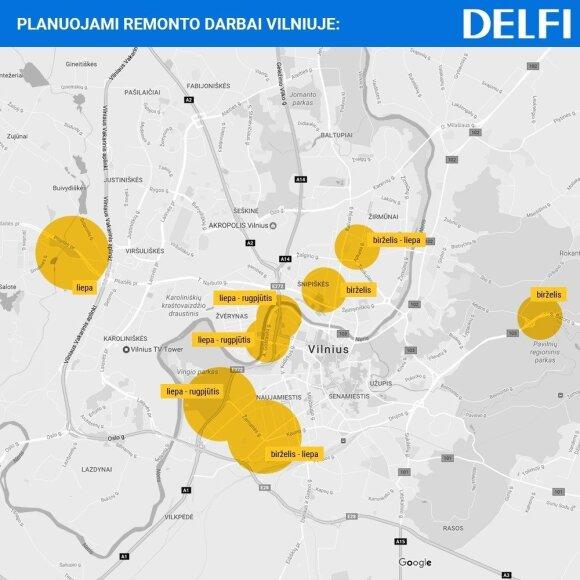 Vilniaus gatvių remonto vasarą žemėlapis