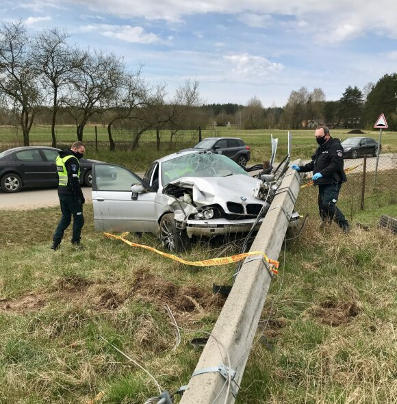 В Вильнюсском районе на BMW упал столб