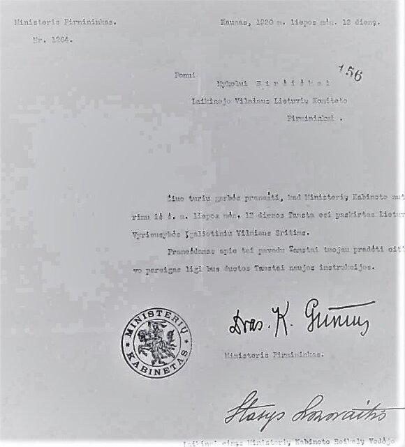 Mykolo Biržiškos paskyrimas Lietuvos vyriausybės įgaliotiniu Vilniuje, 1920 m.