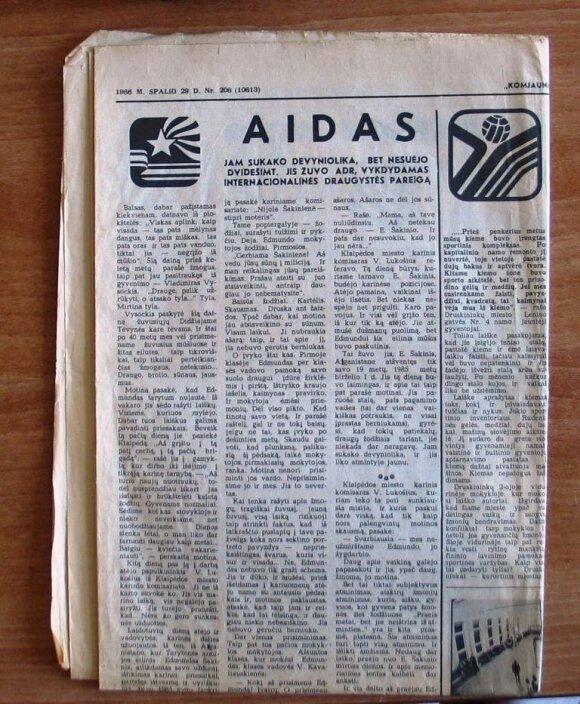 Laikraštis, kuriame buvo aprašyta Šakinio žūtis