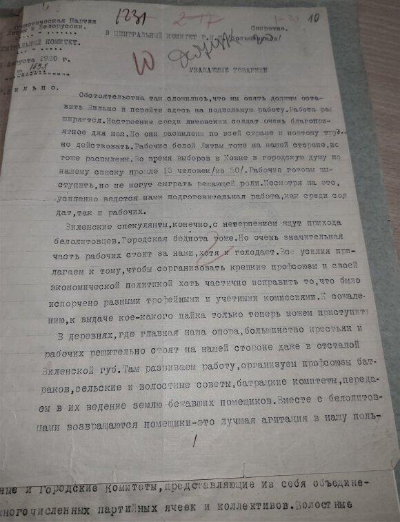 Prieš šimtmetį rašytas Mickevičiaus-Kapsuko laiškas atskleidžia bolševikų tikslus Lietuvoje