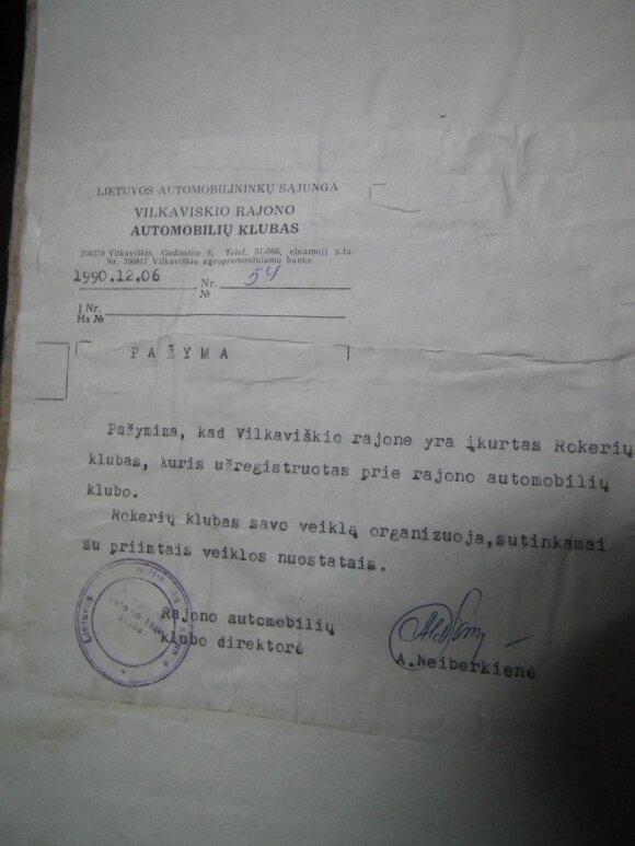Pirmojo Lietuvoje motociklininkų klubo įkūrimo dokumentai