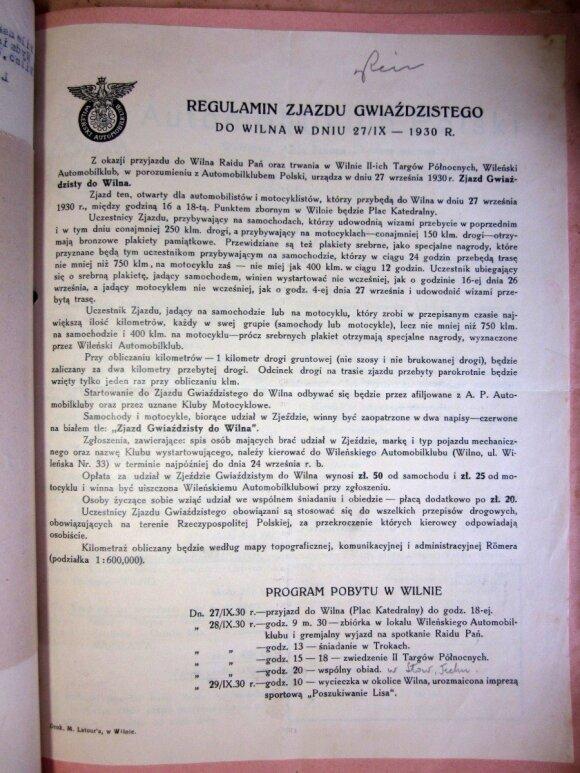 1930 metų žvaigždinio važiavimo į Vilnių taisyklės. LCVA