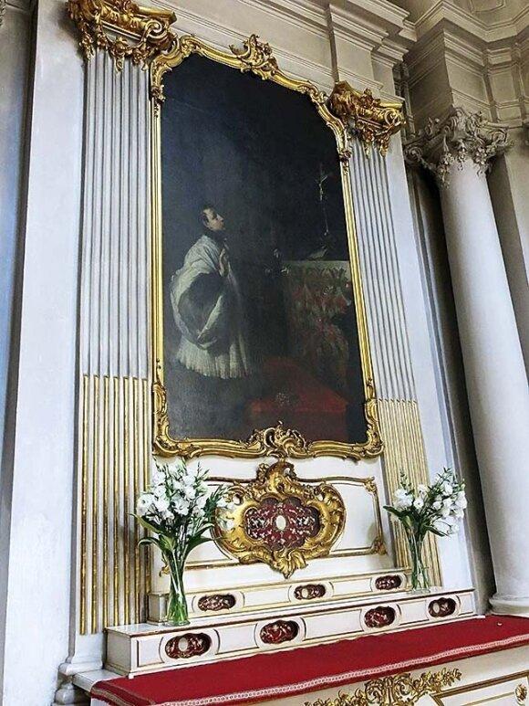 """Vizičių bažnyčioje galima apžiūrėti Danieliaus Schultzo altorinį paveikslą """"Šv. Aloyzas Gonzaga"""""""