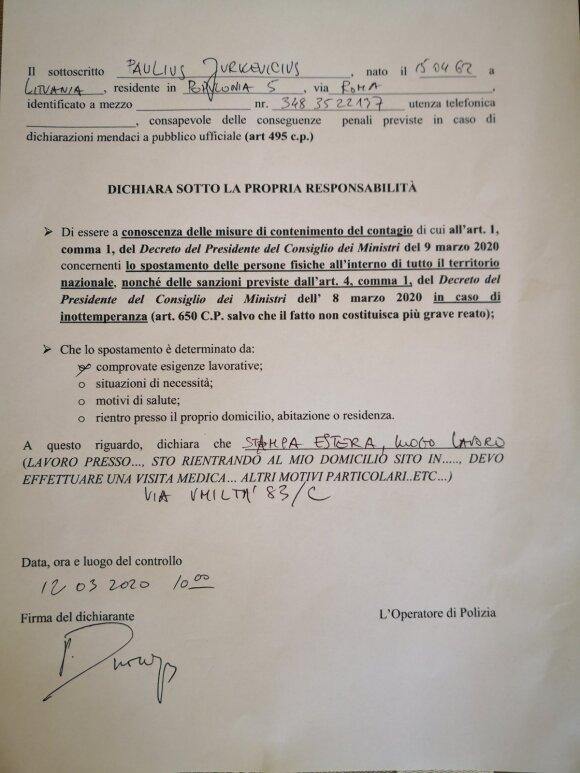 Be specialaus karantino dokumento Italijoje niekas neturi teisės išeiti iš namų / P. Jurkevičiaus nuotr.
