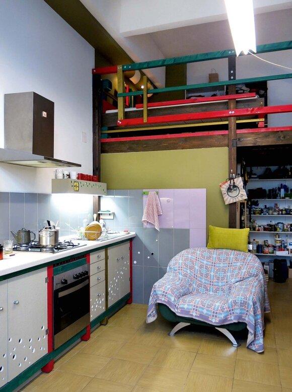 Virtuvės baldus A. Leonavičius sukūrė iš drožlių plokščių