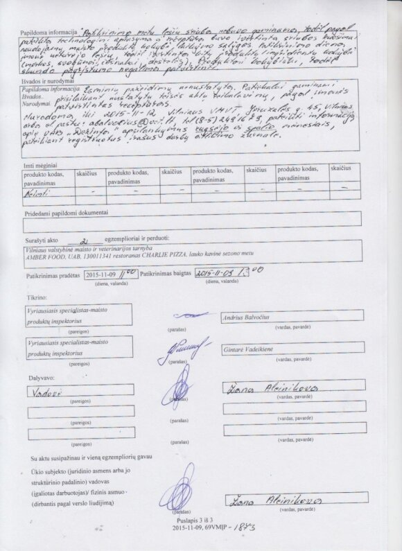 Vilniaus valstybinės maisto ir veterinarijos tarnybos atsakymas