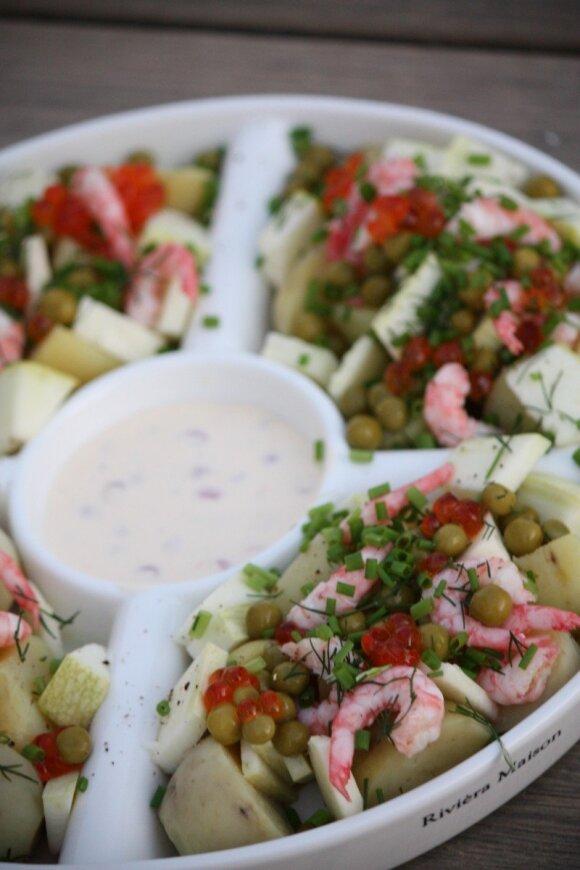 Bulvių ir jūros gėrybių salotos