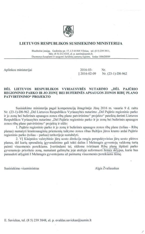 Susisiekimo ministerijos siūlymas Aplinkos ministerijai