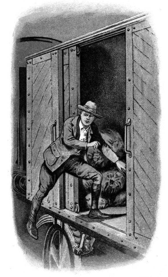 """Iš nelaisvės pabėgęs W. Churchillis lipa į pravažiuojantį traukinį. Cigarečių pakelių kortelė iš serijos """"Famous Escapes"""""""