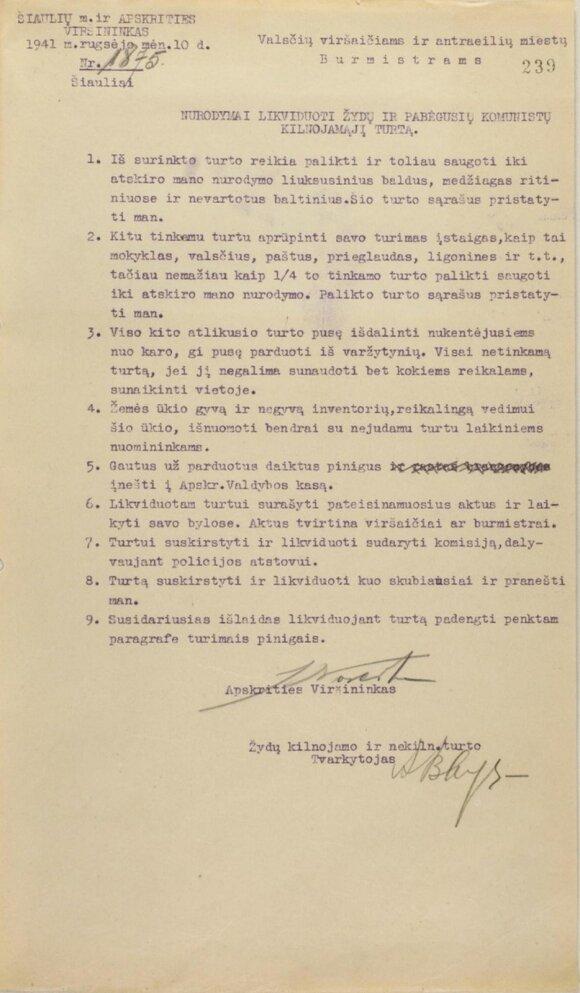 Dokumentas su J. Noreikos parašu // A. Vinokuro nuotr.
