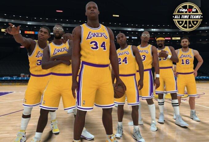 """Visų laikų """"Lakers"""" geriausieji (NBA 2K18 kadras)"""