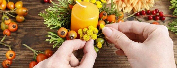 """<span style=""""color: #ff0000;"""">Pasidaryk pats:</span> skoningos žvakidės iš rudens gėrybių"""