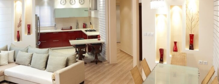 Modernu: svetainė + virtuvė