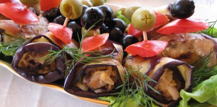 Baklažanų suktinukai su vištiena