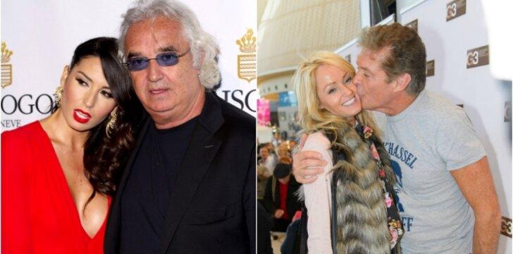 Flavio Briatore ir Elisabetta Gregoraci ; Davidas Hasselhoffas ir Hayley Roberts