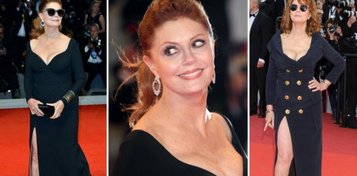 Seksualiausi Susan Sarandon raudonojo kilimo įvaizdžiai