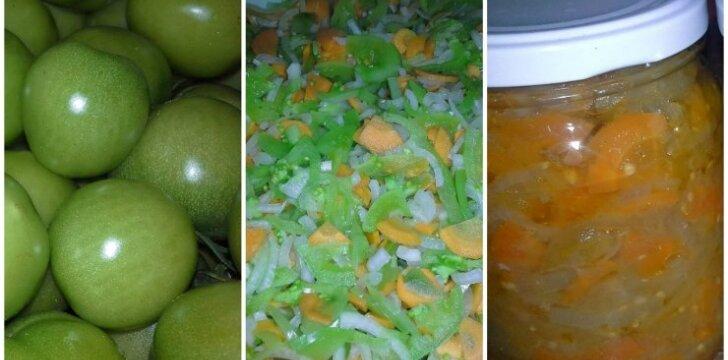 Nespėjusių sunokti pomidorų mišrainė žiemai