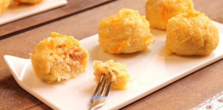 Traškūs bulvių ir sūrio kroketai su šonine