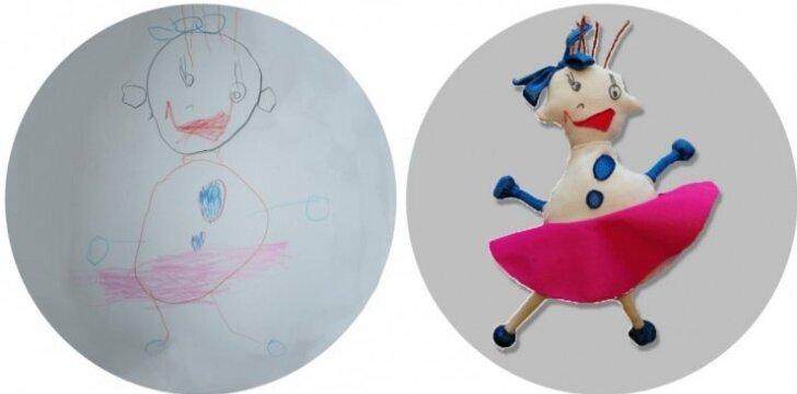 Kaip vaiko piešinys virsta pliušiniu žaislu