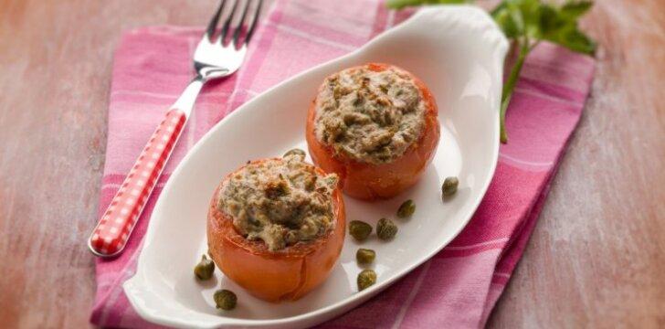 Pomidorai su tuno ir sūrio įdaru