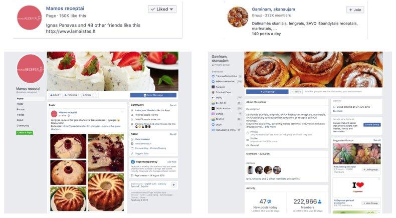 "Receptų ""Facebook"" puslapis ir grupė"