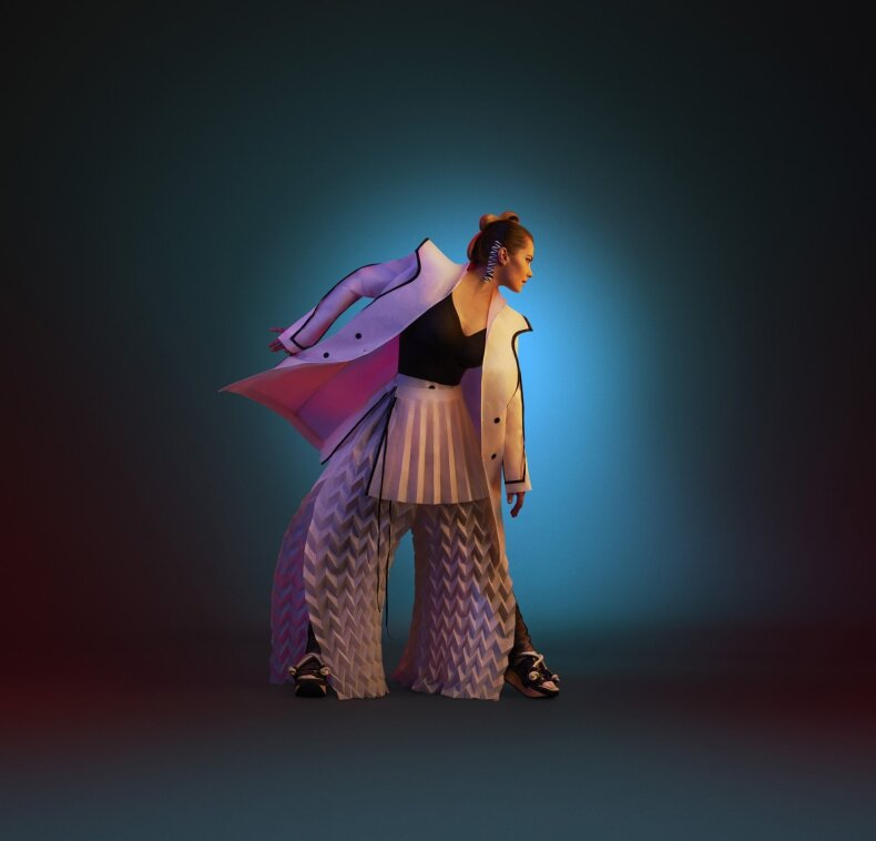 Jurgos Šeduikytės aprangos įvaizdis – tai prekės ženklo 'Between lab' kūrėjų darbas, įkvėptas apsilankymo Kazio Varnelio namuose