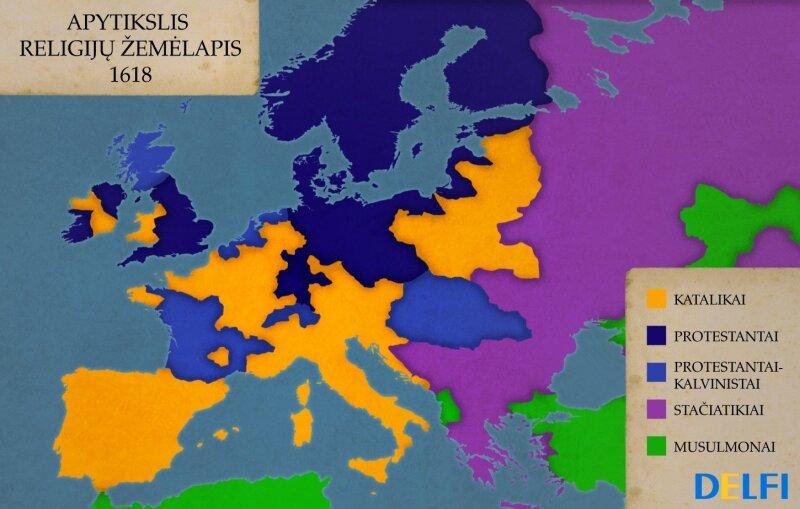 Apytikslis religijų žemėlapis 1618