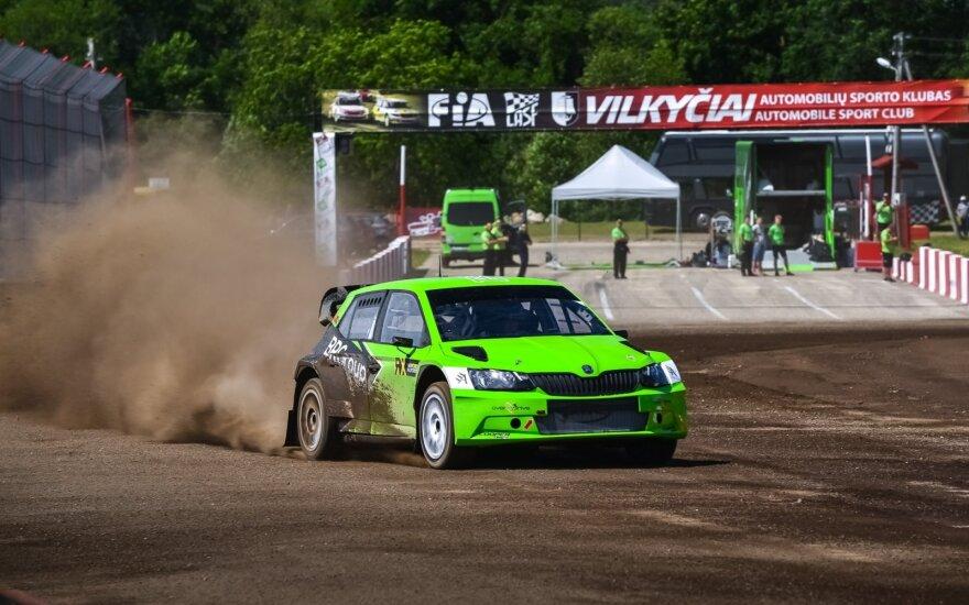 Kevino Abbringo pasaulio ralio kroso čempionato automobilio testai Vilkyčių trasoje