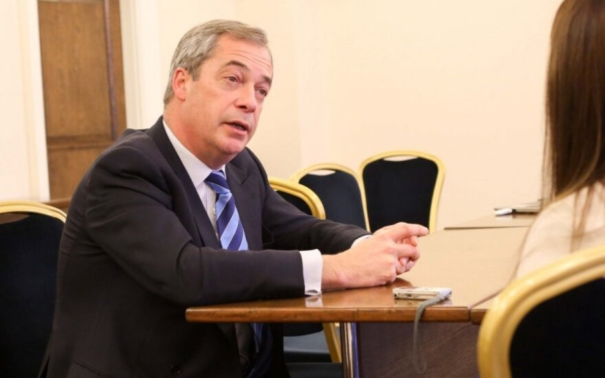Nigel Farage during an interview in Vilnius