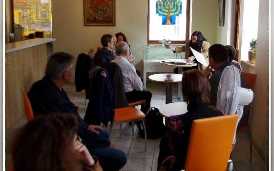 Some of the 18 Vilnius residents and visitors who attended this year's inaugural meeting at the Jewish Cultural and Information Center on Mėsinių Street in the Old Town