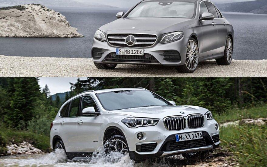 """""""BMW X1"""" ir E klasės """"Mercedes-Benz"""""""