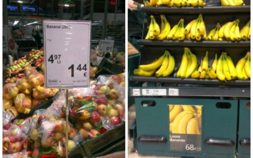 Palygino kainas Lietuvoje ir Jungtinėje Karalystėje: skirtumas nustebino