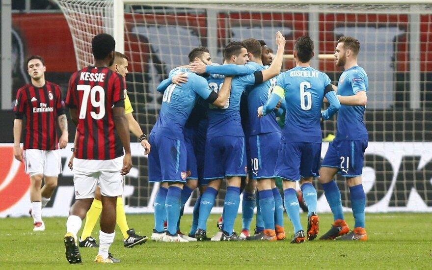 """UEFA Europos lygoje – """"Arsenal"""" pergalė Milane, austrų antausis """"Borussiai"""" ir rusų nesėkmės"""