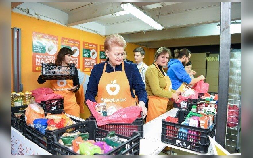 President Dalia Grybauskaitė at the Food Bank charity event