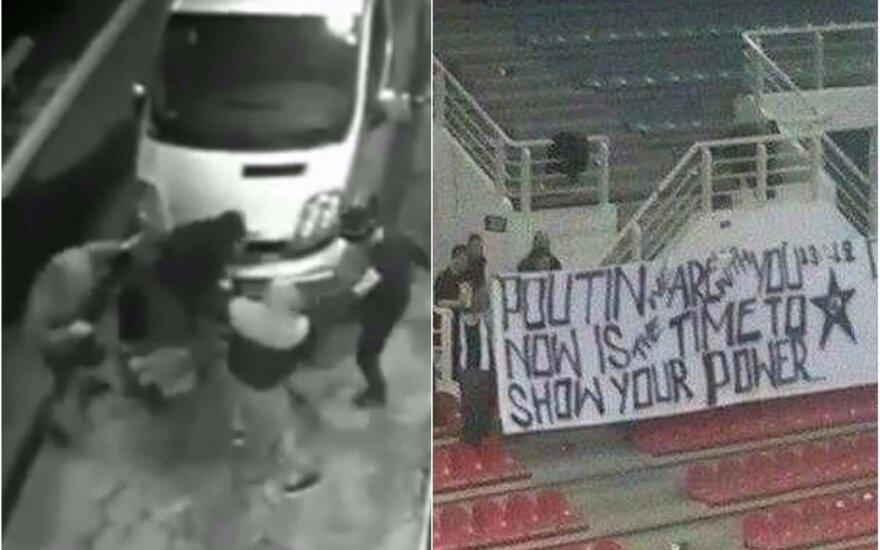 Ukrainos ultros be gailesčio sumušė Putiną stadione palaikiusius graikų futbolo sirgalius