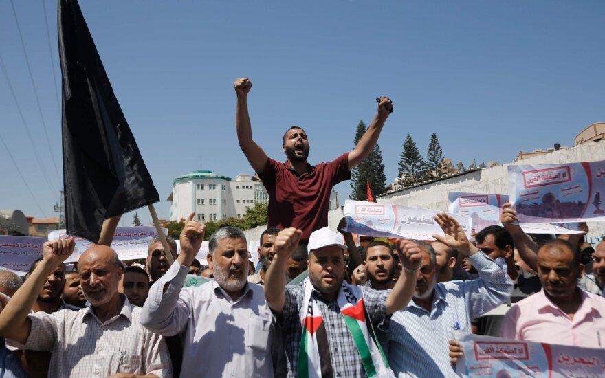 Gazos Ruože palestiniečiai protestuoja prieš JAV Artimųjų Rytų ekonomikos planą