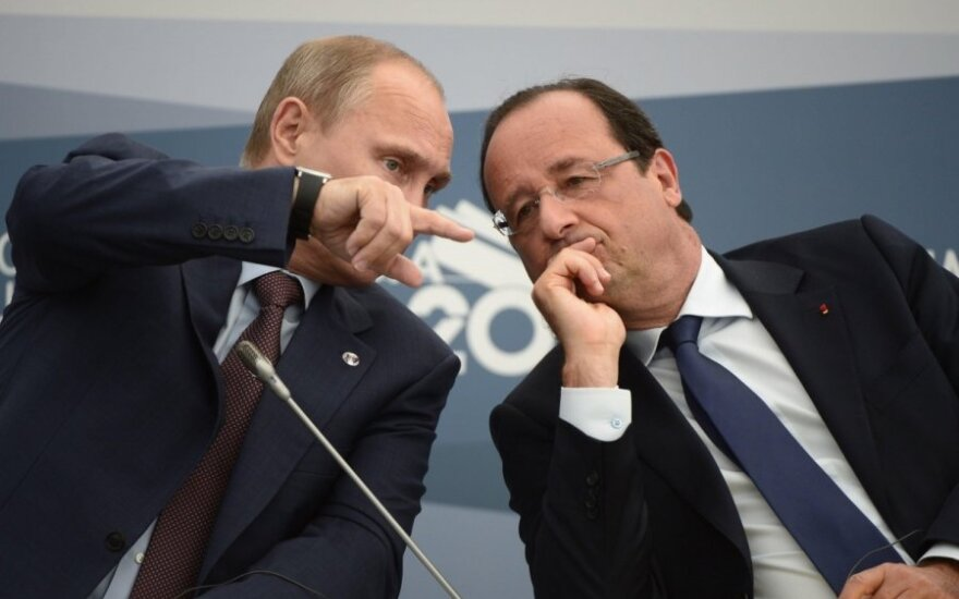 Vladimiras Putinas ir Francois Hollande'as