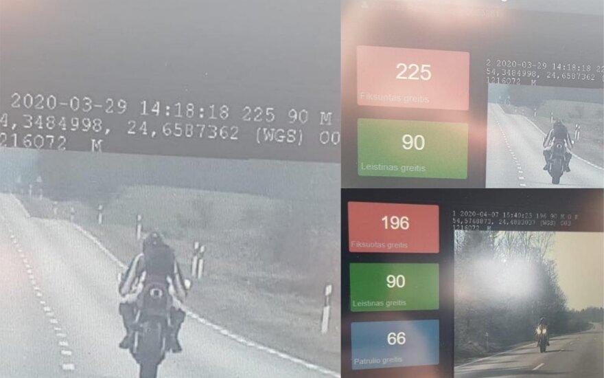 Motociklininkas ženkliai viršijo leistiną greitį. Lietuvos policijos nuotr.