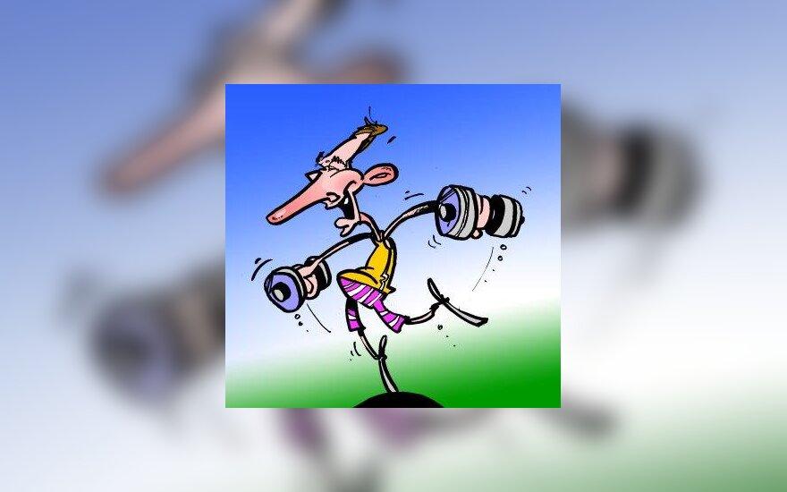 Artūras Zuokas Tai-Chi treniruotėje - karikatūra