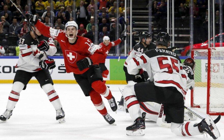 Šveicarijos ledo ritulininkai nugalėjo Kanados rinktinę