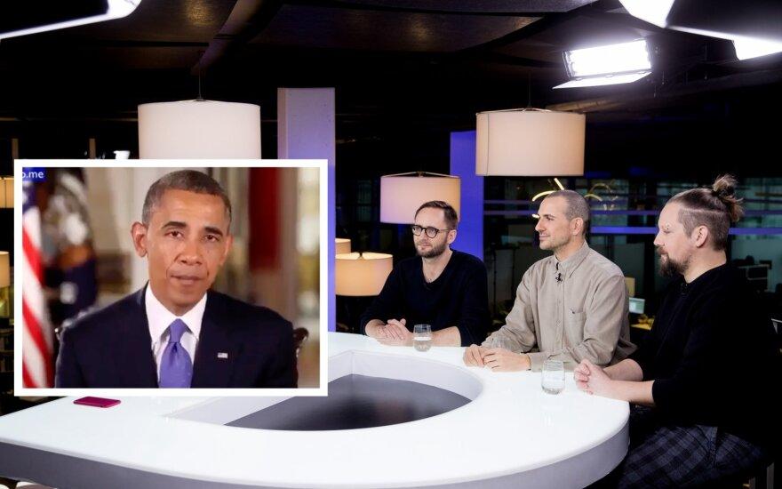 """Grupė """"The Roop"""" ir Barackas Obama/Foto: Delfi ir stop kadras"""
