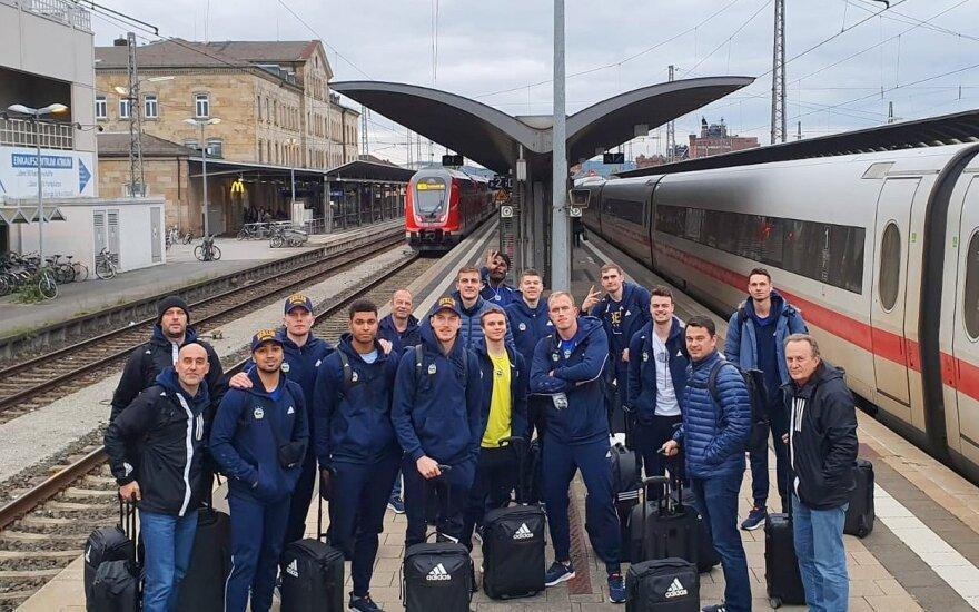 """""""Alba"""" ekipa Bambergą pasiekė traukiniu"""